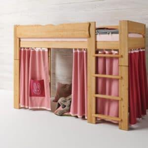 Mittelbett Mobile in Erle geölt in Farbwelt Kaninchen in rosa. Bett Mobile mit Leiter.