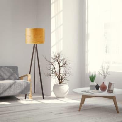 Stehleuchte Ligno mit Echtholz-Lampenschirm, Furnier Esche, aus