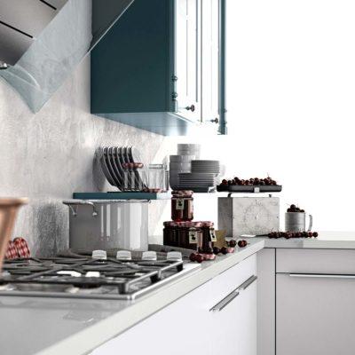 Kochfeld der modernen Landhausküche in Massivholz Oldham