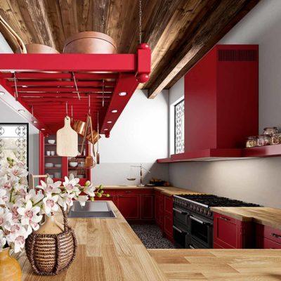 Massivholzküche Palma im Landhausstil, Farbe Burgunderrot, Arbeitsfläche in Wildeiche